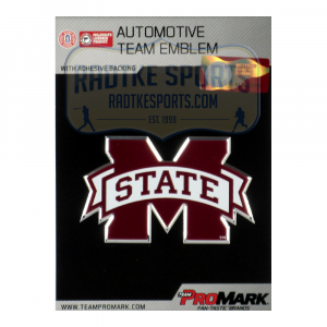 Officially Licensed Mississippi State Bulldogs Logo 3x4 NCAA Car Emblem with Adhesive Backing-0
