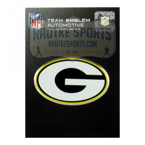 Officially Licensed Green Bay Packers Logo 3x4 NFL Car Emblem with Adhesive Backing-0