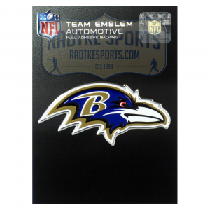 Officially Licensed Baltimore Ravens Logo 3x4 NFL Car Emblem with Adhesive Backing-0