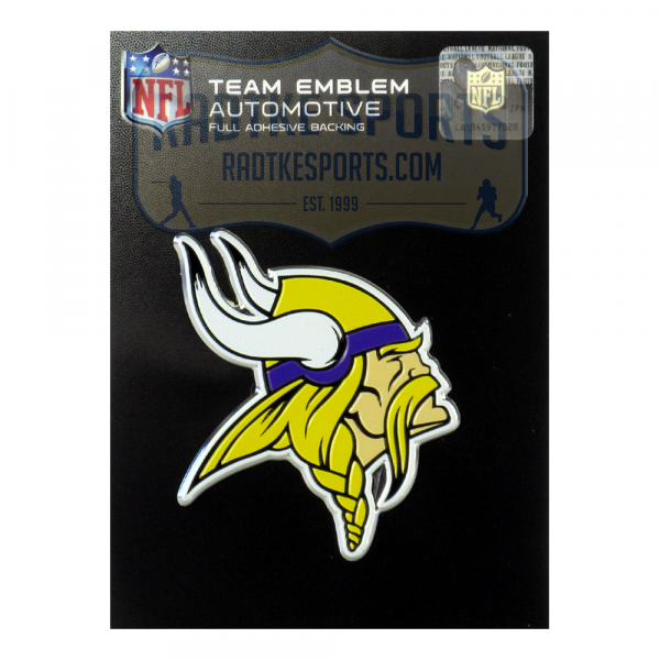 Officially Licensed Minnesota Vikings Logo 3x4 NFL Car Emblem with Adhesive Backing-0