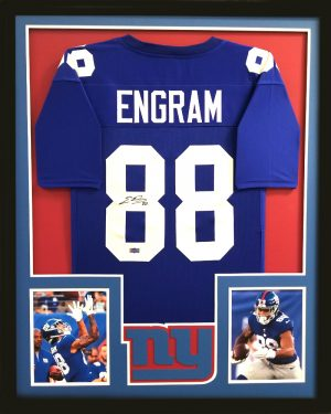 Evan Engram Signed New York Giants Framed Blue Custom Jersey-0