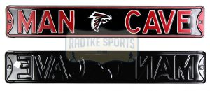 Atlanta Falcons Man Cave Officially Licensed Authentic Steel 36x6 Black & Red NFL Street Sign-0