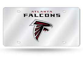 Atlanta Falcons Officially Licensed NFL Laser Tag Mirror License Plate - Wordmark -0