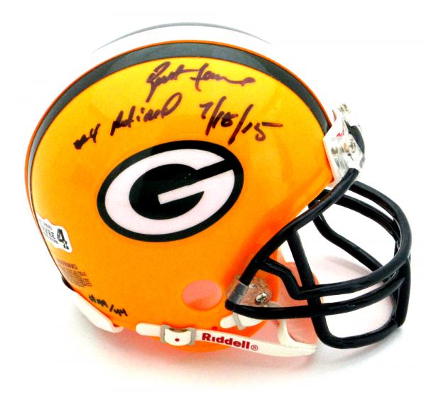 """Brett Favre Signed Green Bay Packers Riddell NFL Mini Helmet with """"4 Retired 7/18/15"""" Inscription - LE #44 of 44-0"""