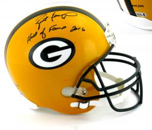 "Brett Favre Signed Green Bay Packers Riddell Full Size NFL Helmet with ""Hall of Fame 2016"" Inscription - LE #144 of 444-0"