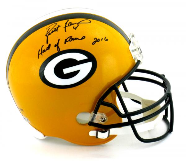 "Brett Favre Signed Green Bay Packers Riddell Full Size NFL Helmet with ""Hall of Fame 2016"" Inscription - LE #444 of 444-9376"