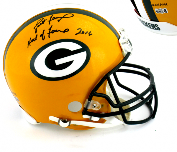 "Brett Favre Signed Green Bay Packers Riddell Authentic NFL Helmet with ""Hall of Fame 2016"" Inscription - LE #144 of 444-0"