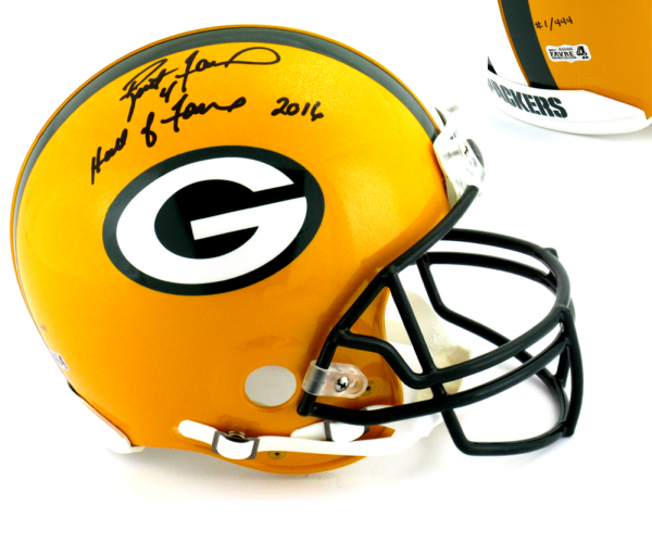 """Brett Favre Signed Green Bay Packers Riddell Authentic NFL Helmet with """"Hall of Fame 2016"""" Inscription - LE #1 of 444-0"""