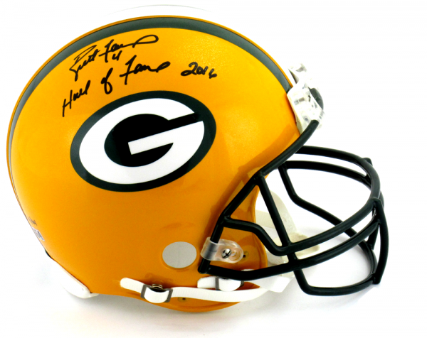"""Brett Favre Signed Green Bay Packers Riddell Authentic NFL Helmet with """"Hall of Fame 2016"""" Inscription - LE #44 of 444-9340"""