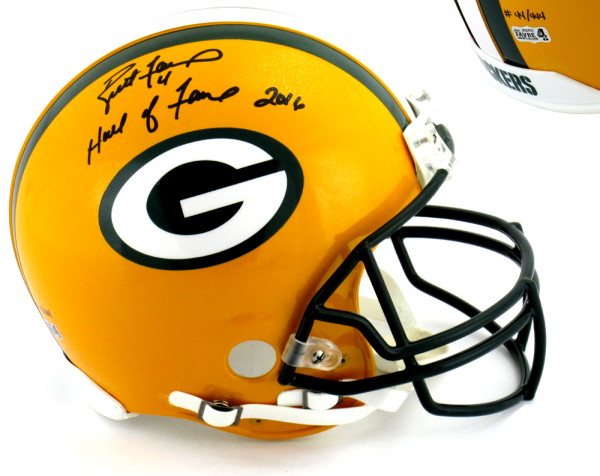 """Brett Favre Signed Green Bay Packers Riddell Authentic NFL Helmet with """"Hall of Fame 2016"""" Inscription - LE #44 of 444-0"""