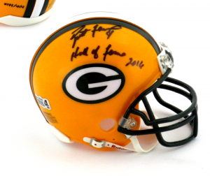 "Brett Favre Autographed/Signed Green Bay Packers Riddell NFL Mini Helmet with ""Hall of Fame 2016"" Inscription - LE #144 of 444-0"