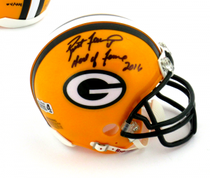 "Brett Favre Signed Green Bay Packers Riddell NFL Mini Helmet with ""Hall of Fame 2016"" Inscription - LE #4 of 444-0"
