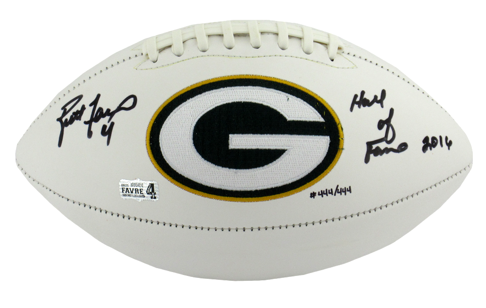 low priced 61429 fd9aa Brett Favre Signed Green Bay Packers Embroidered Logo NFL Football With