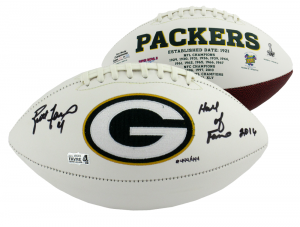 "Brett Favre Signed Green Bay Packers Embroidered Logo NFL Football With ""Hall Of Fame 2016"" Inscription - #444 Of 444-0"