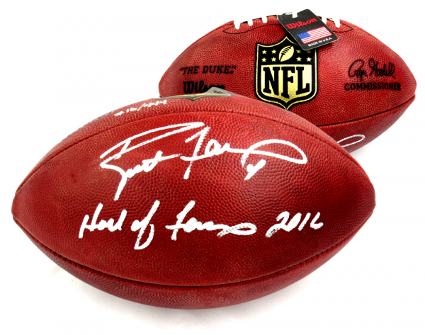 """Brett Favre Signed Green Bay Packers Wilson Authentic NFL Football with """"Hall of Fame 2016"""" Inscription - LE of 444-0"""