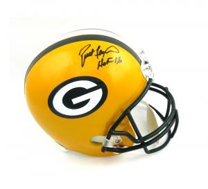 """Brett Favre Signed Green Bay Packers Full Size Helmet with """"HOF 16"""" Inscription-0"""