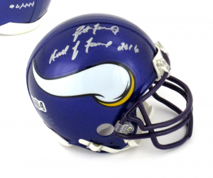 "Brett Favre Signed Minnesota Vikings Riddell NFL Mini Helmet with ""Hall of Fame 2016"" Inscription - LE of 444-0"