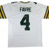 "Brett Favre Signed Green Bay Packers Custom Road White Jersey with ""HOF 16"" Inscription-9476"
