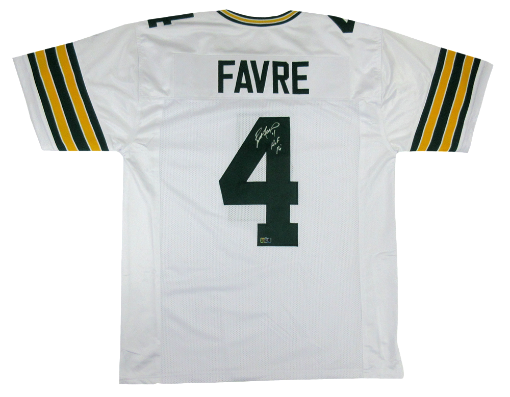 size 40 1069a b6c16 Brett Favre Signed Green Bay Packers Custom Road White Jersey with
