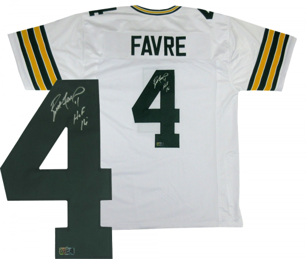 "Brett Favre Signed Green Bay Packers Custom Road White Jersey with ""HOF 16"" Inscription-0"