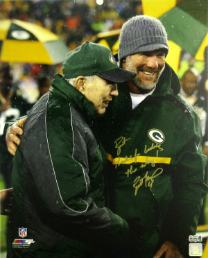 "Brett Favre Signed Green Bay Packers Wrapped 16x20 Canvas with ""Bart, Thanks for Leading the Way"" Inscription-0"