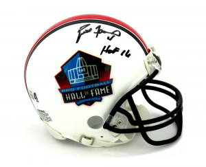 "Brett Favre Signed Riddell Pro Football HOF Mini Helmet - ""HOF 16"" Inscription-0"