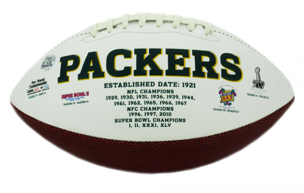 Brett Favre Autographed/Signed Green Bay Packers Logo Football MVPS-12457