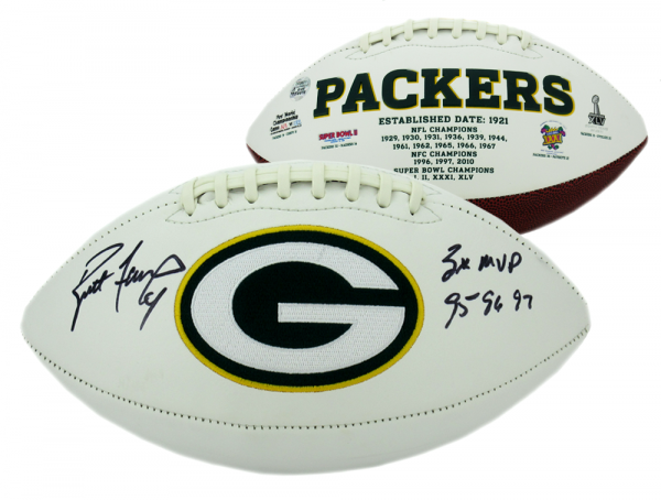 Brett Favre Autographed/Signed Green Bay Packers Logo Football MVPS-0