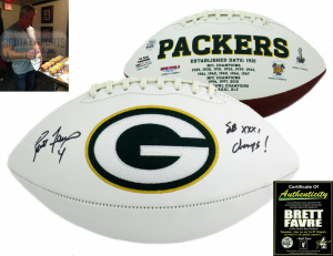 "Brett Favre Signed Green Bay Packers NFL Logo Football with ""SB XXXI Champs"" Inscription-0"