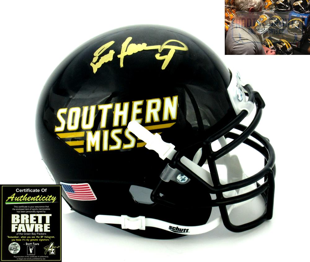 premium selection 01317 6ffff Brett Favre Autographed/Signed Southern Mississippi Golden Eagles Schutt  NCAA Mini Helmet