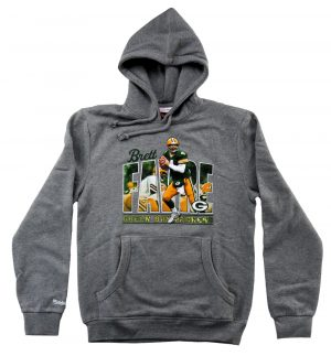 Brett Favre Green Bay Packers Mitchell & Ness Grey Pullover Hoodie-0