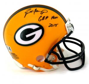 """Brett Favre Signed Green Bay Packers Riddell NFL Mini Helmet with """"GBP HOF 2015"""" Inscription-0"""