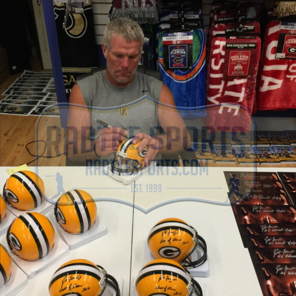 "Brett Favre Signed Green Bay Packers Riddell NFL Mini Helmet with ""Hall of Fame 2016"" Inscription - LE #4 of 444-9414"