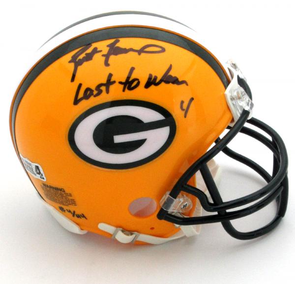 """Brett Favre Signed Green Bay Packers Riddell NFL Mini Helmet with """"4 Retired 7/18/15"""" Inscription - LE #4 of 44-0"""