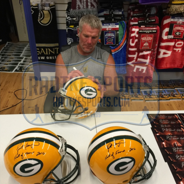 "Brett Favre Signed Green Bay Packers Riddell Authentic NFL Helmet with ""Hall of Fame 2016"" Inscription - LE #144 of 444-9346"