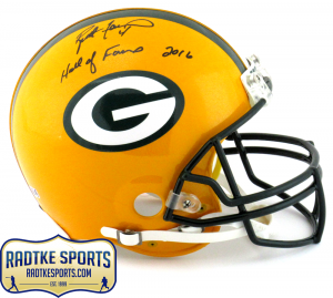 "Brett Favre Signed Green Bay Packers Riddell Authentic NFL Helmet with ""Hall of Fame 2016"" Inscription - LE of 444-0"