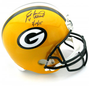 "Brett Favre Signed Green Bay Packers Riddell Full Size NFL Helmet with ""4 Retired 7/18/15"" Inscription - LE #1 of 44-0"