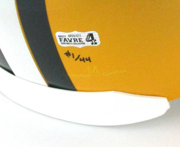 """Brett Favre Signed Green Bay Packers Riddell Full Size NFL Helmet with """"4 Retired 7/18/15"""" Inscription - LE #1 of 44-4121"""