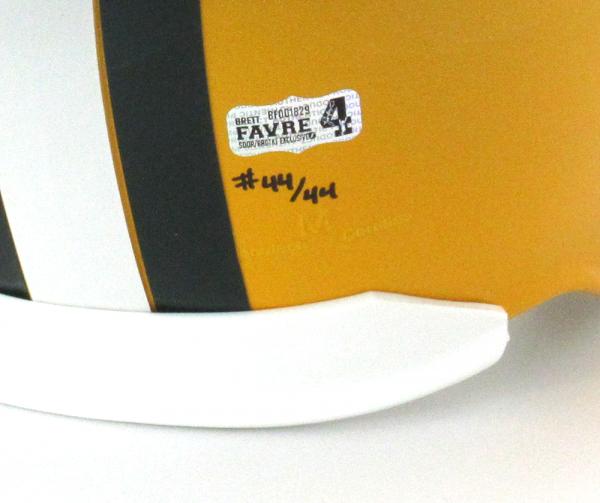 """Brett Favre Signed Green Bay Packers Riddell Full Size NFL Helmet with """"4 Retired 7/18/15"""" Inscription - LE #44 of 44-4128"""