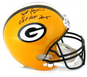 """Brett Favre Signed Green Bay Packers Riddell Full Size NFL Helmet with """"GBP HOF 2015"""" Inscription-0"""