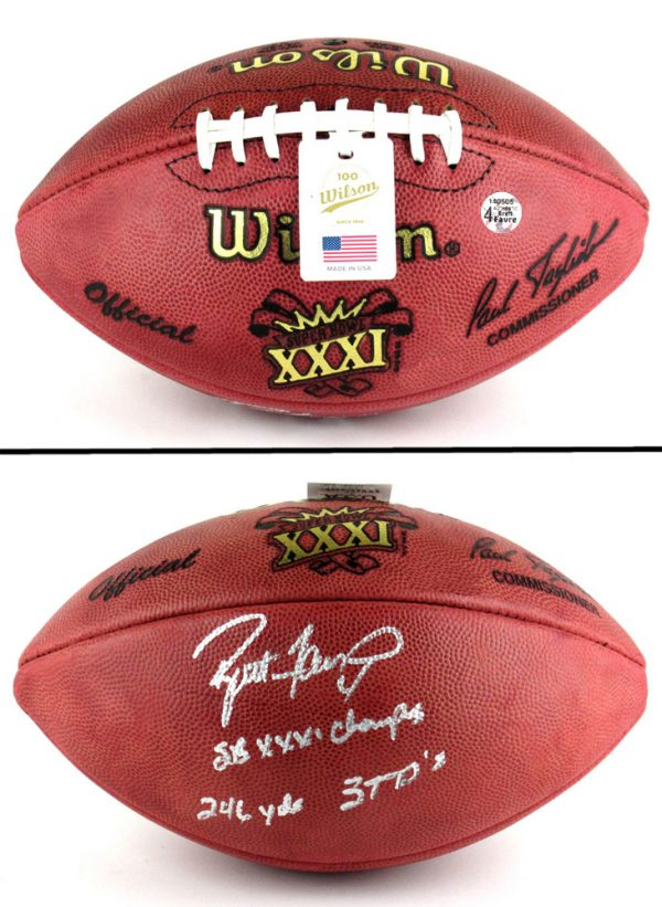 """Brett Favre Signed Wilson Authentic Super Bowl 31 Football with """"SB XXXI Champs - 246 yds 3 TD's"""" Inscription-12448"""