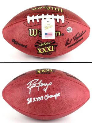 "Brett Favre Autographed/Signed Wilson Authentic Super Bowl 31 Football with ""SB XXXI Champs"" Inscription - Silver Ink-0"