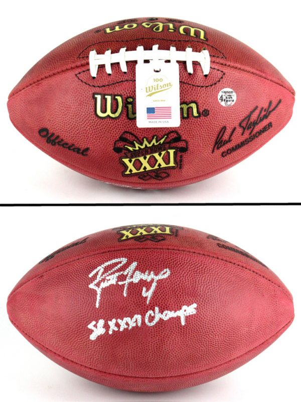 """Brett Favre Autographed/Signed Wilson Authentic Super Bowl 31 Football with """"SB XXXI Champs"""" Inscription - Silver Ink-0"""