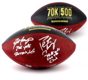 Brett Favre & Peyton Manning Signed Wilson Authentic 70K Yards & 500 TDs NFL Football with Yardage & TD Inscription LE #118 of 150-0