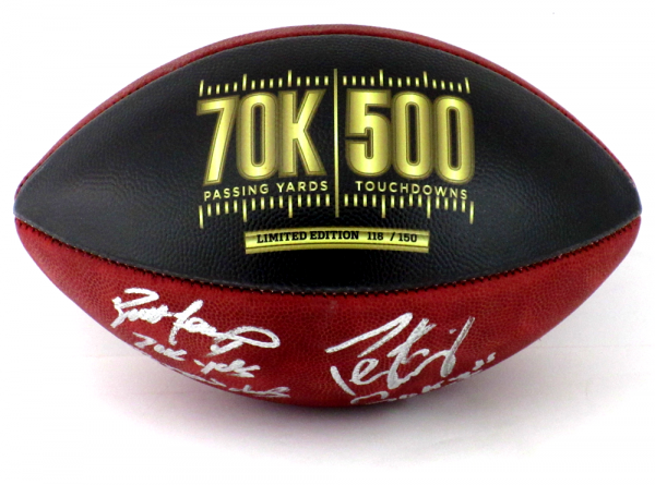 Brett Favre & Peyton Manning Signed Wilson Authentic 70K Yards & 500 TDs NFL Football with Yardage & TD Inscription LE #118 of 150-8358