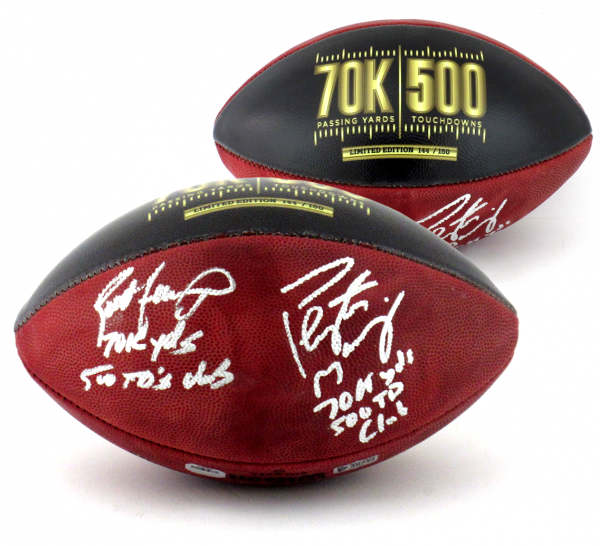 Brett Favre & Peyton Manning Signed Wilson Authentic 70K Yards & 500 TDs NFL Football with Yardage & TD Inscription LE #144 of 150-0