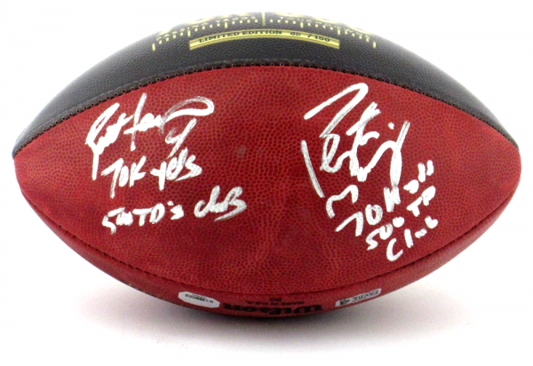 Brett Favre & Peyton Manning Signed Wilson Authentic 70K Yards & 500 TDs NFL Football with Yardage & TD Inscription LE of 150-8350