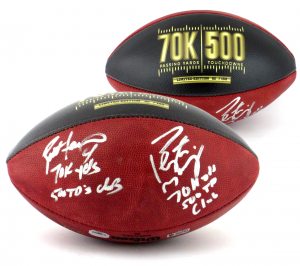 Brett Favre & Peyton Manning Signed Wilson Authentic 70K Yards & 500 TDs NFL Football with Yardage & TD Inscription LE of 150-0