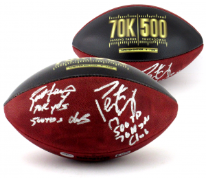 Brett Favre & Peyton Manning Signed Wilson Authentic 70K Yards & 500 TDs NFL Football with Yardage & TD Inscription LE #4 of 150-0