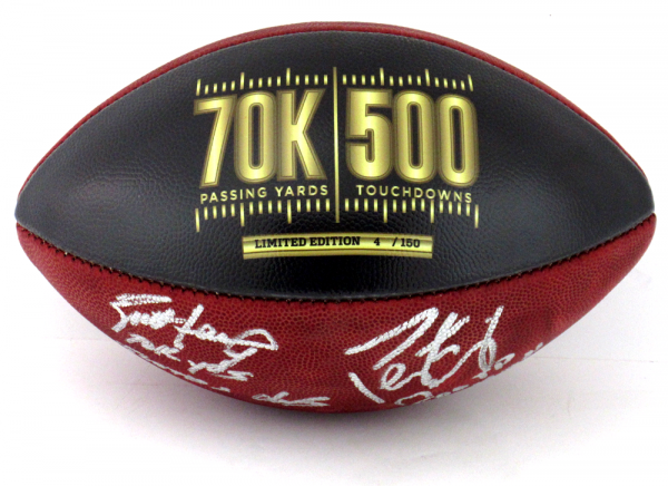 Brett Favre & Peyton Manning Signed Wilson Authentic 70K Yards & 500 TDs NFL Football with Yardage & TD Inscription LE #4 of 150-8346